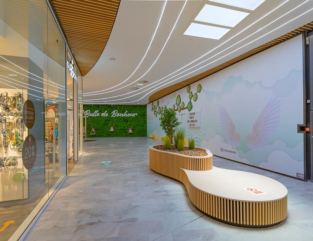 laudescher realisation habillage mural bois acoustique centre commercial saint georges
